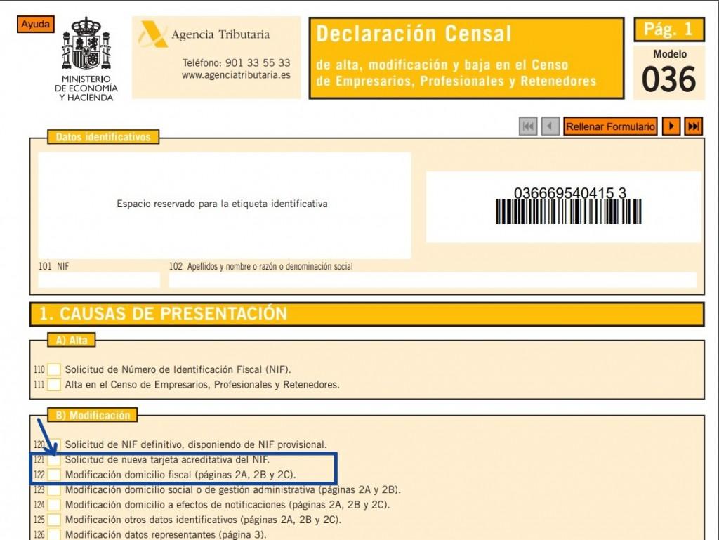 Mod. 036_ Declaración Censal - Cambio de domicilio fiscal