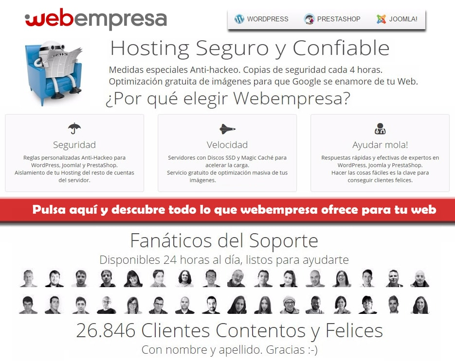 Webempresa expertos en hosting para wordpress, prestashop y joomla