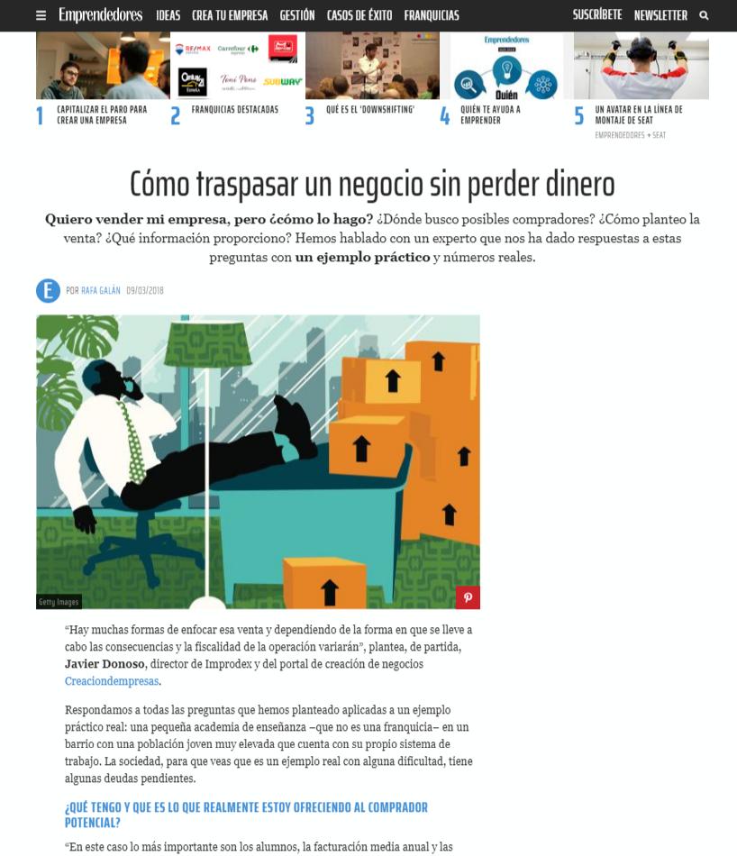 """Marzo 2018 - Asesoramiento en reportaje:  """"Cómo traspasar un negocio sin perder dinero"""""""