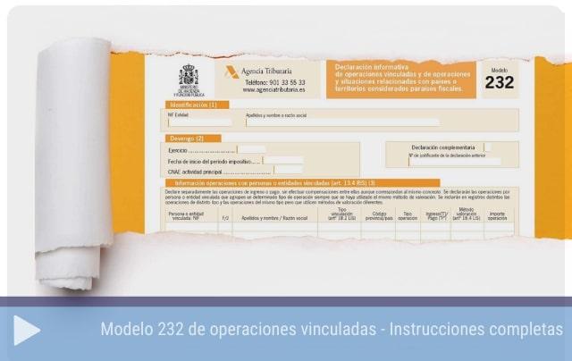 Modelo 232 de operaciones vinculadas - Instrucciones completas
