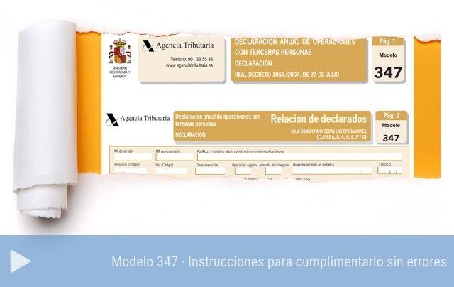 Modelo 347 instrucciones para cumplimentarlo sin errores