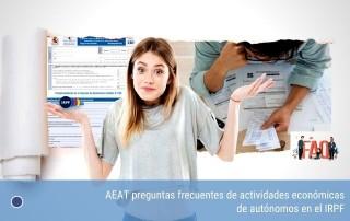 AEAT preguntas frecuentes de actividades económicas de autónomos en el IRPF