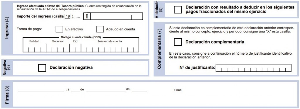 Modelo 130 ingreso, complementaria, negativa firma
