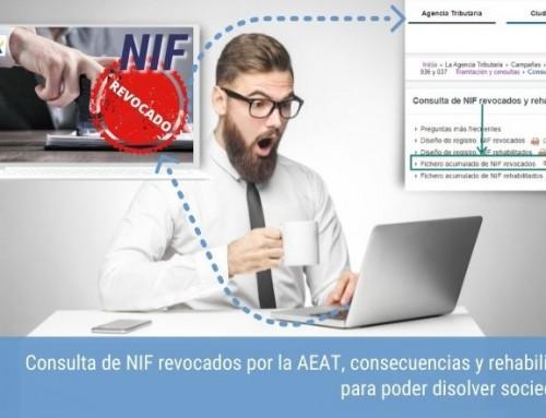 Consulta de NIF revocados por la AEAT, consecuencias y rehabilitación para poder disolver sociedades.