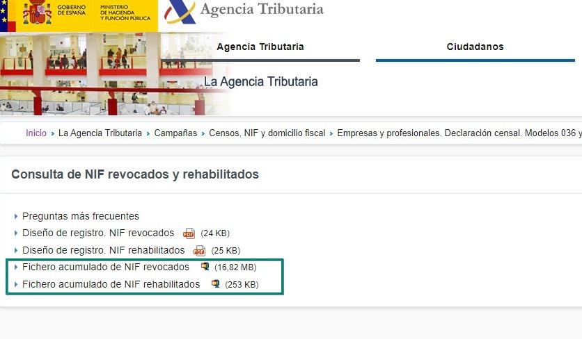 Consulta de NIF revocados y rehabilitados - Agencia Tributaria