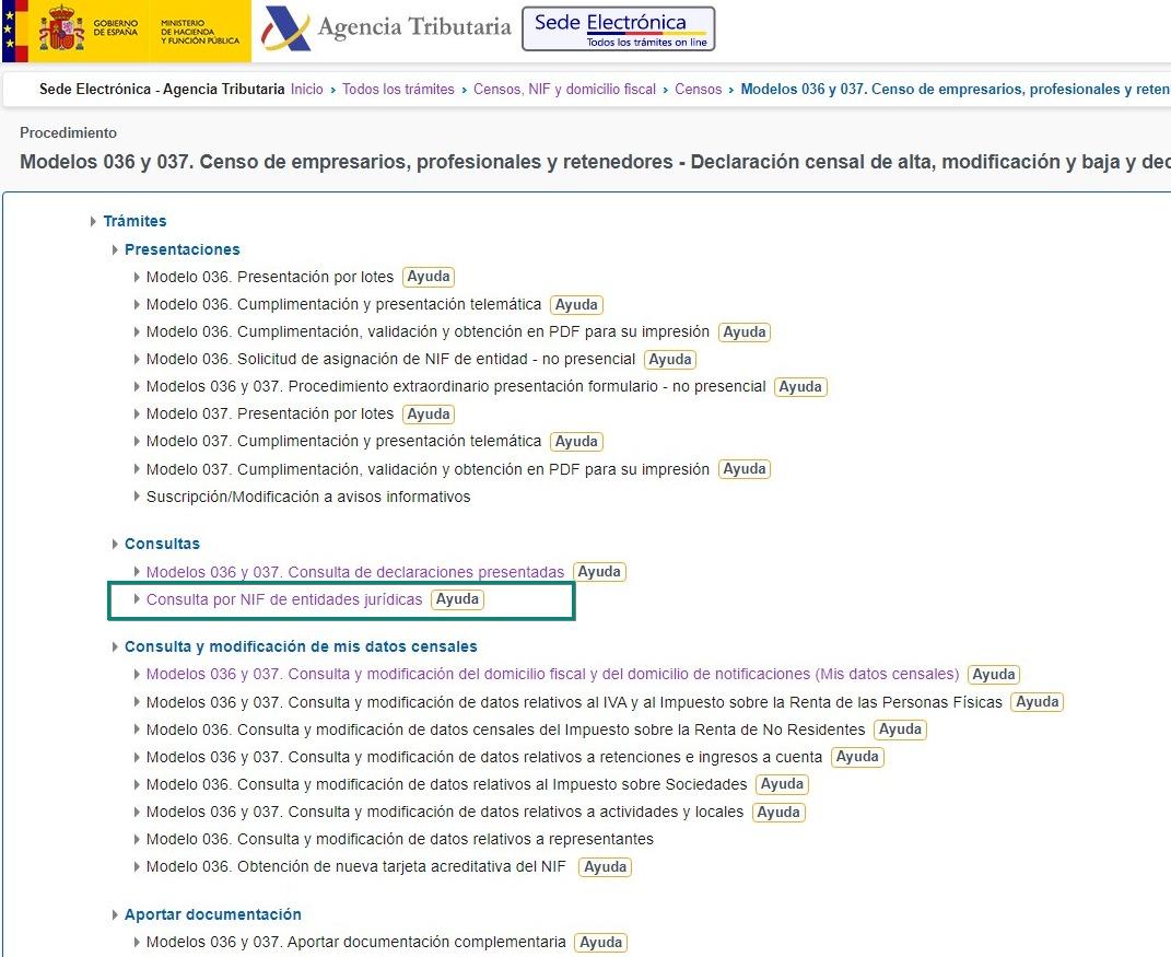 Modelos 036 y 037. Censo de empresarios, profesionales y retenedores - Declaración censal de alta, modificación,baja y declaración censal simplificada