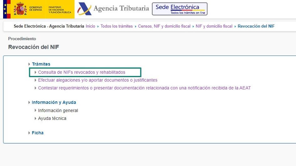 Revocación del NIF - Sede Electrónica - Agencia Tributaria